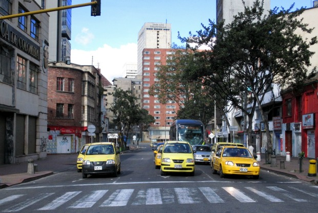 Catching a taxi in Bogota traffic