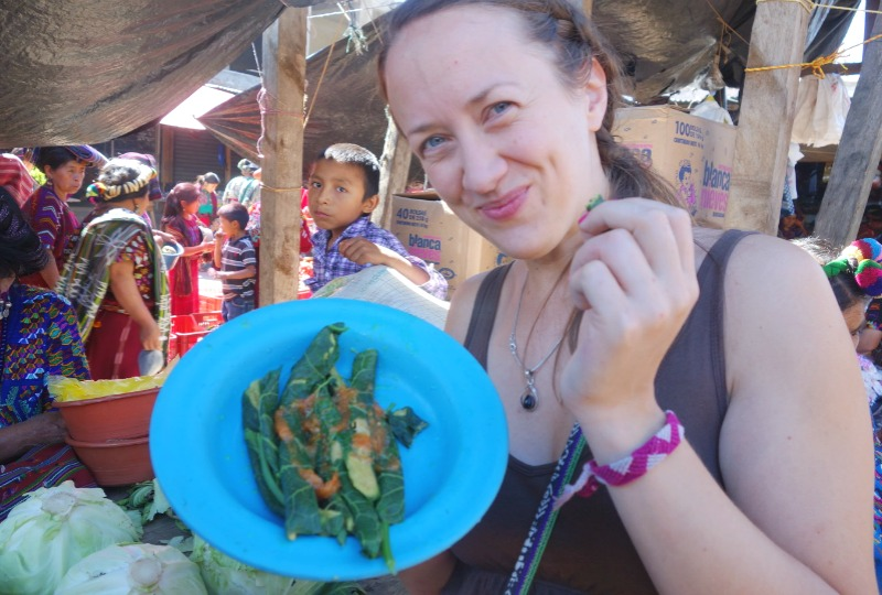 Simone tasting the local delicacies in Nebaj, an indigenous town in the highlands of Guatemala